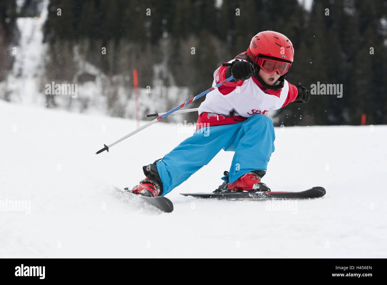 Kind, Skirennen, Go, Konzentration, Stockbild