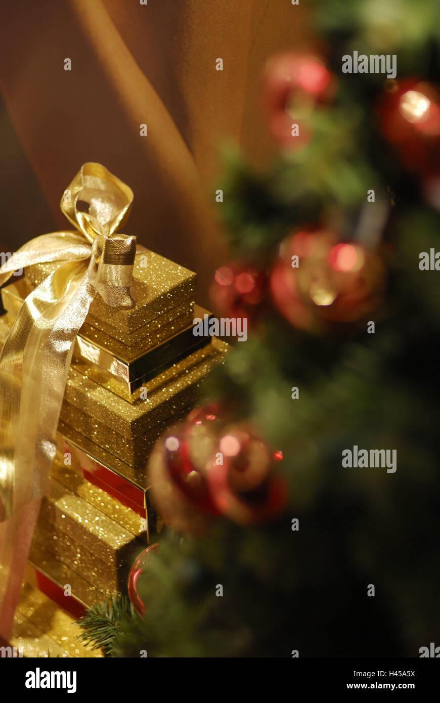 Weihnachtsbäume, Geschenk Chargen, Schleife, mittlere Nahaufnahme ...