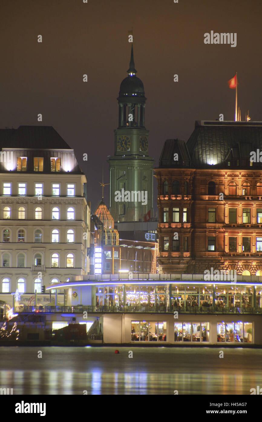 Jungfernstieg Weihnachtsmarkt.Deutschland Hamburg Stadt Ansicht Jungfernstieg