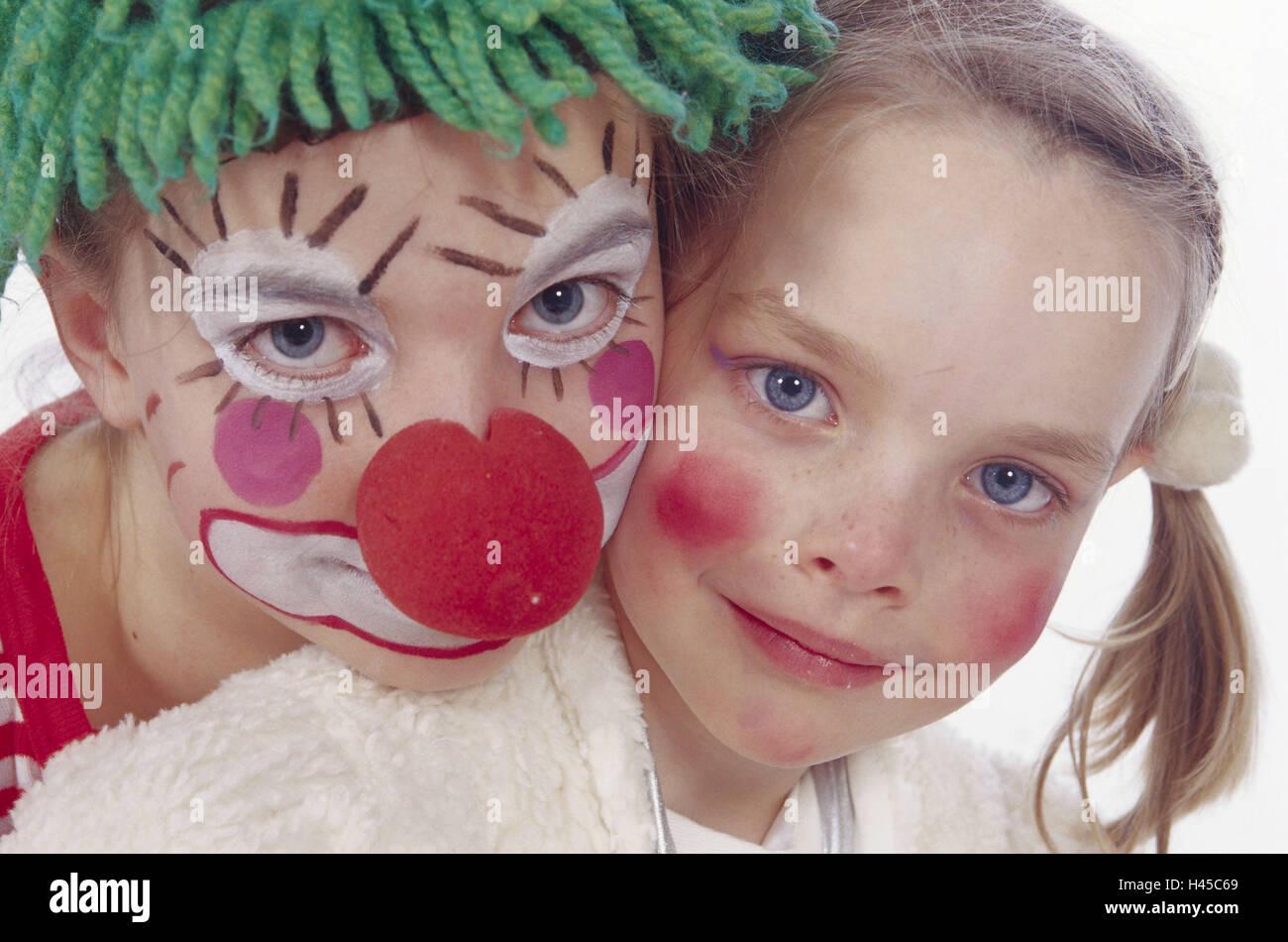 Karneval Kinder Zwei Futter Kostume Clown Prinzessin
