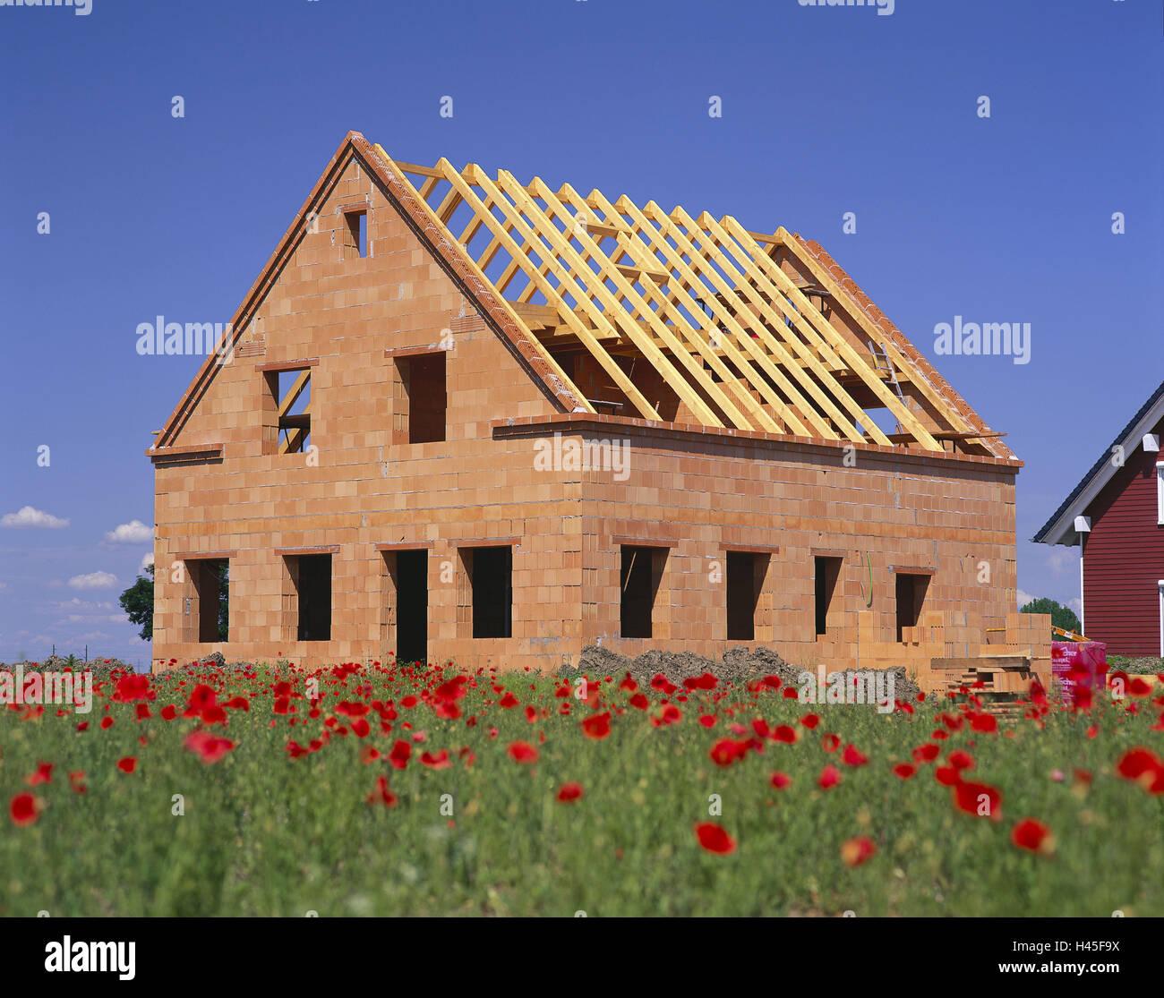 Deutschland, Bayern, bauen ein Haus, Einfamilienhaus, Shell, Mohn ...