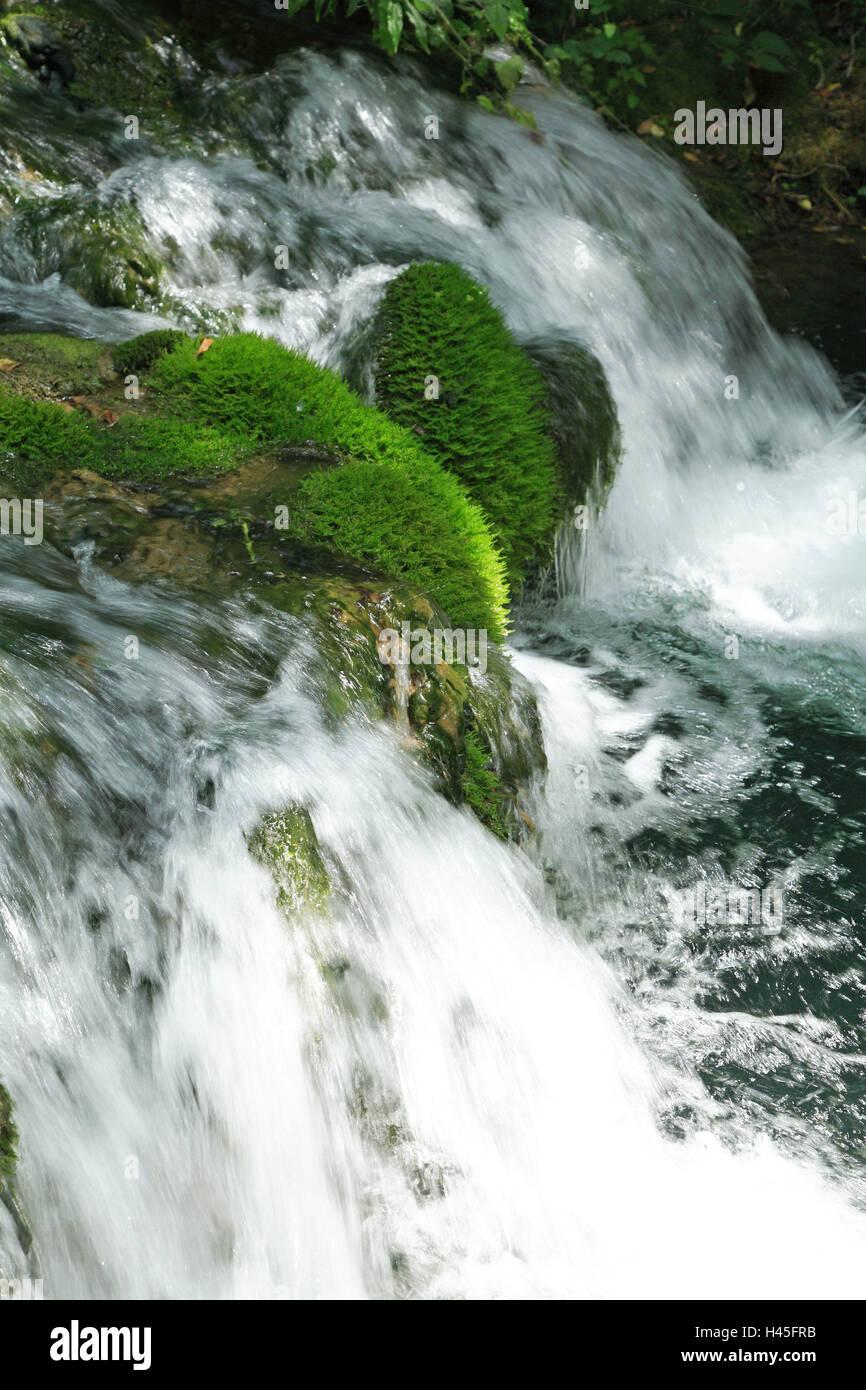 Kroatien, Dalmatien, Sibenik-Knin, Krka Nationalpark, Wasserfall Skradinski backen, Europa, Balkan-Halbinsel, Nationalpark, Stockbild