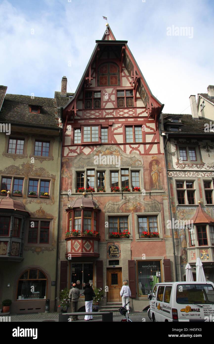 Charmant Schweiz, Stein Am Rhein, Terrasse, Fassaden, Farben, Touristen, Kein Model  Release, Stadt, Altstadt, Historisch, Hobbits, Haus, Gebäude, Architektur,  ...