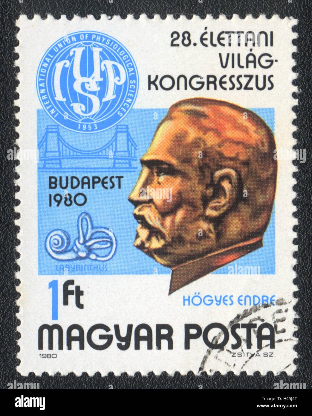 Eine Briefmarke gedruckt in Ungarn zeigt 28. internationalen Kongress der physiologischen Wissenschaften, 1980 Stockbild