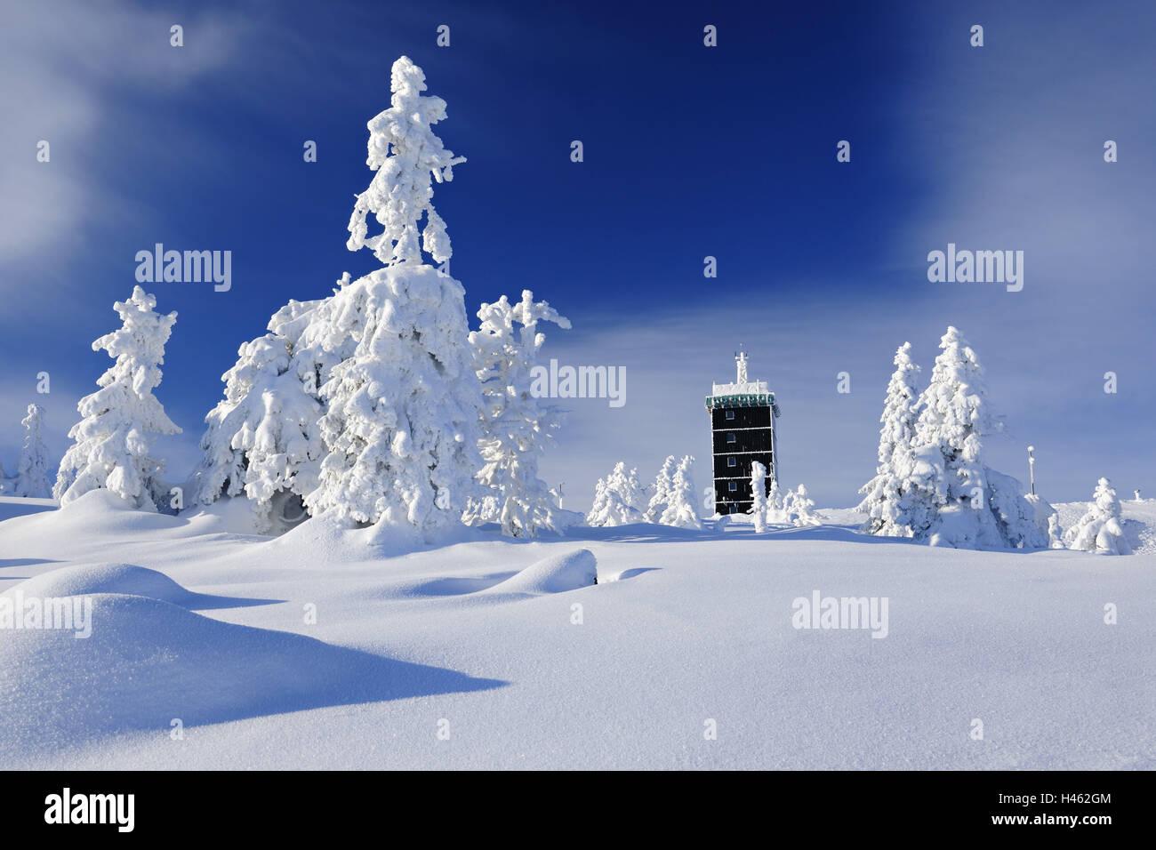 Deutschland, Sachsen-Anhalt, Nationalpark Harz, Wetterstation auf dem Brocken, winter, Stockfoto