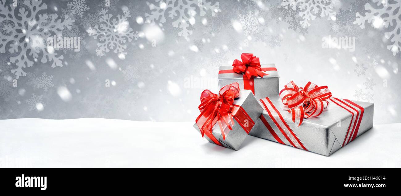 Silber Weihnachten Oder Geburtstag Geschenk Boxen Mit Roten