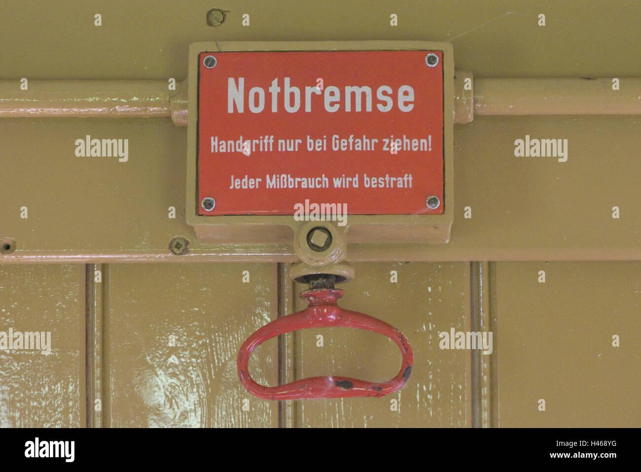 Zug, eklatante Foul, Detail, Eisenbahn, Zeichen, Tipp, Zeichen, rot, Aufschrift, Label, Notfall, Bremse, Griff, Stockbild