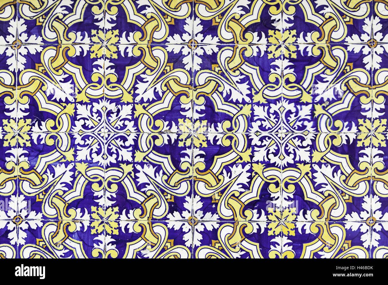 Typische Dekorfliesen detail antike Fliesen, Lissabon, Kunst und ...