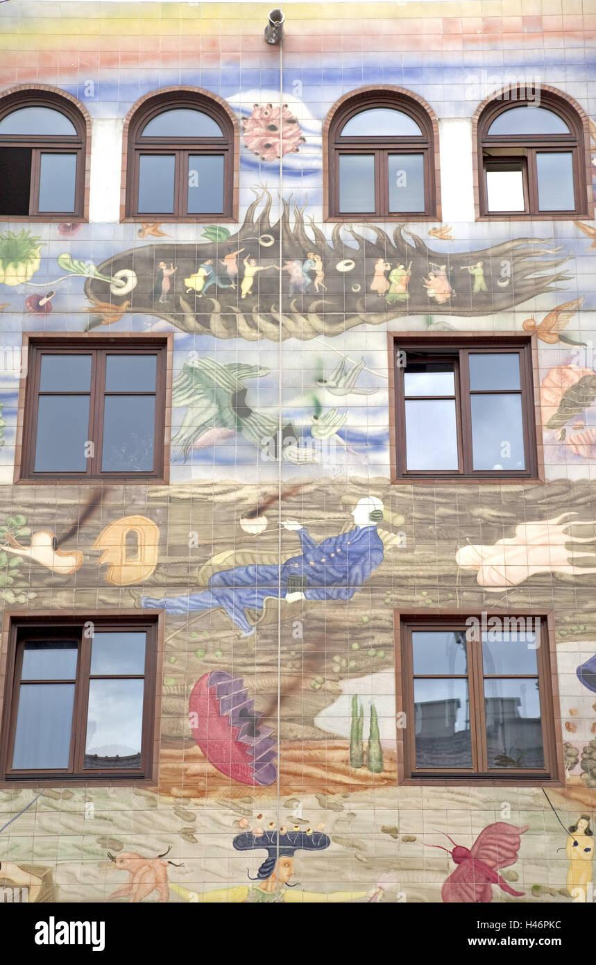Haus, Malerei, Design, hell, Bau, Architektur, außen, Struktur ...