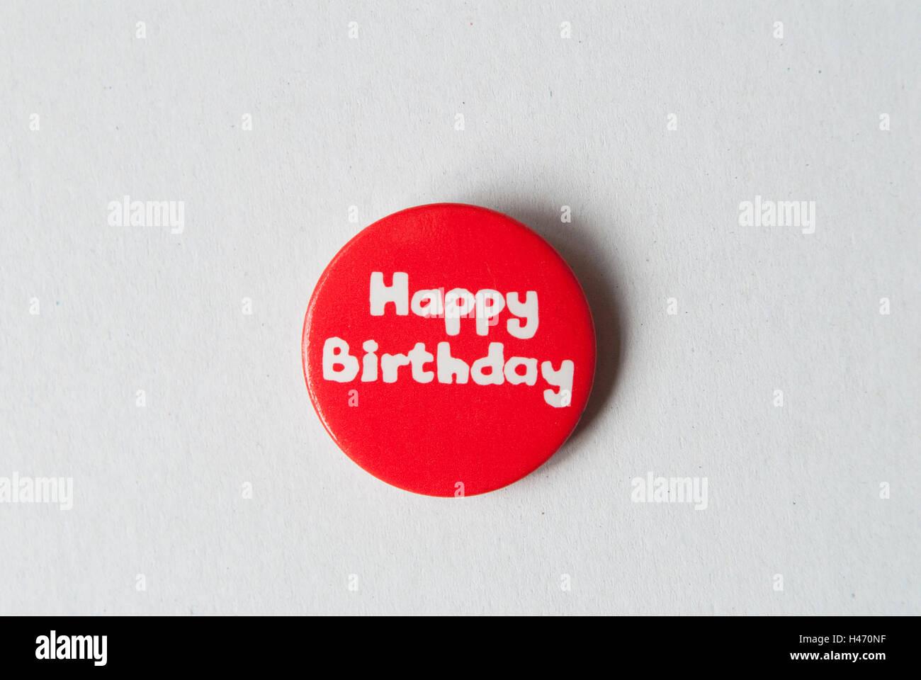 Alles Gute zum Geburtstag Pin Abzeichen aus entweder 1970er oder 1980er Jahren HOMER SYKES Stockbild