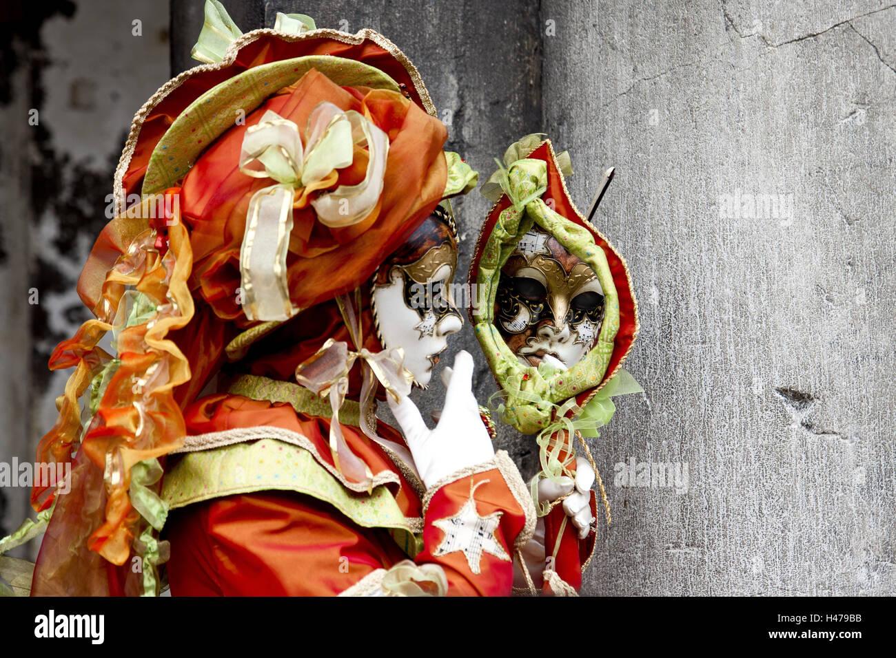 Italien, Venedig, Karneval, Person, Masken, Porträt, Seitenansicht ...