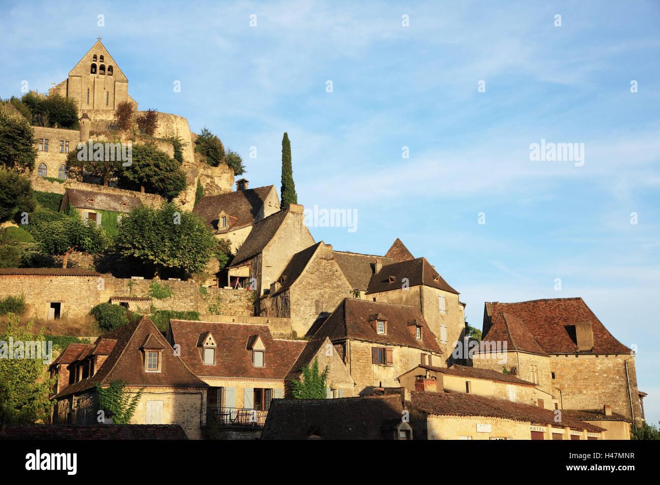 Frankreich, Beynac-et-Cazenac, Dordogne, Häuser, draußen, Europa, Reisen, Natur, Steinhäuser, Gebäude, Wohnhäuser, Aquitaine, Architektur, Landschaft, niemand, Stockfoto