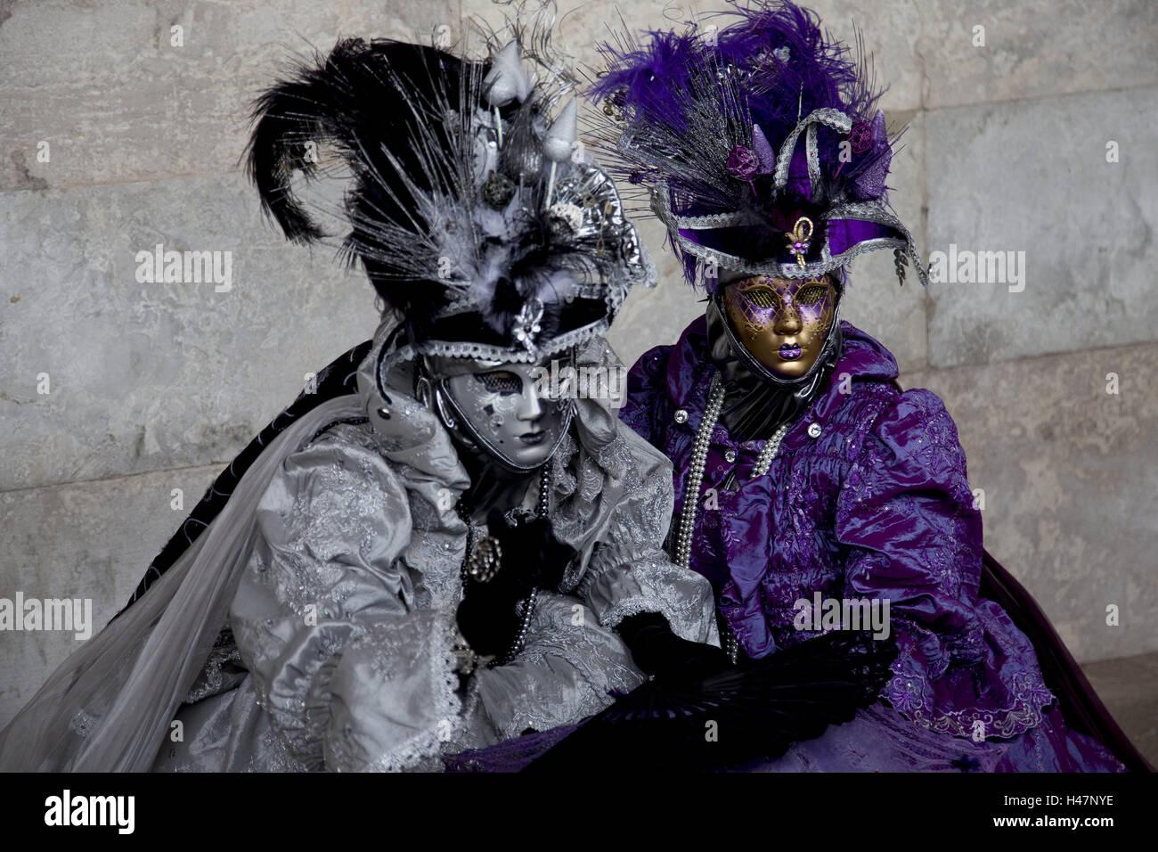 Italien, Venedig, Karneval, Menschen, zwei, Masken, halbe Porträt ...