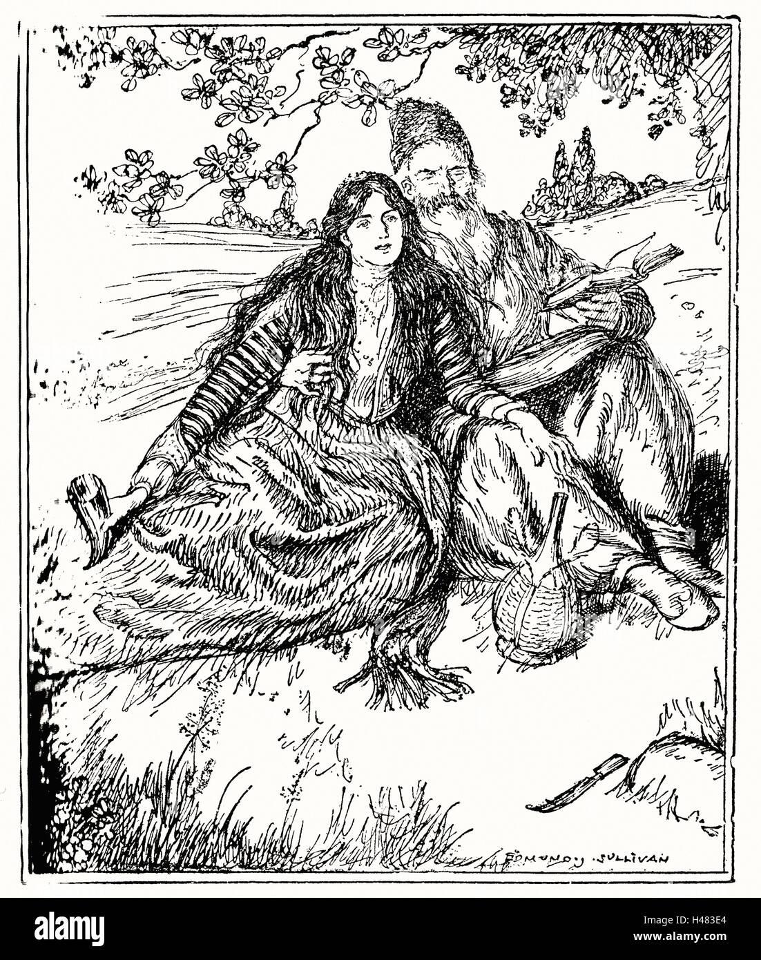 Edmund J Sullivan Abbildungen, das Rubaiyat von Omar Khayyam erste Version Vierzeiler Stockbild