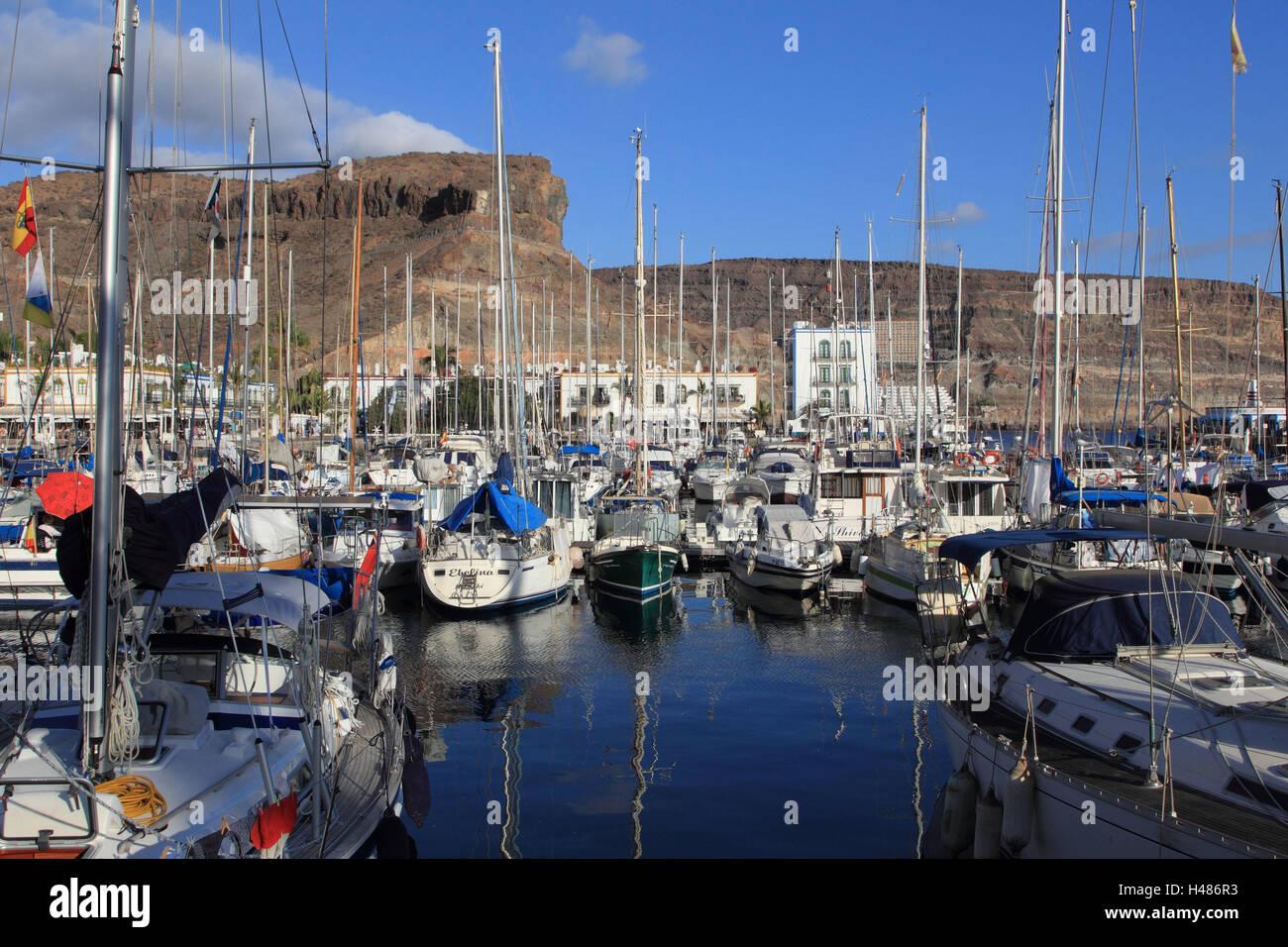 Kanaren, Korn, Canaria, Puerto de Mogan, Hafen, Schiffe, Hochformat, Hafen, Spanien, Atlantik, Meer, niemand, Stiefel, Stockbild