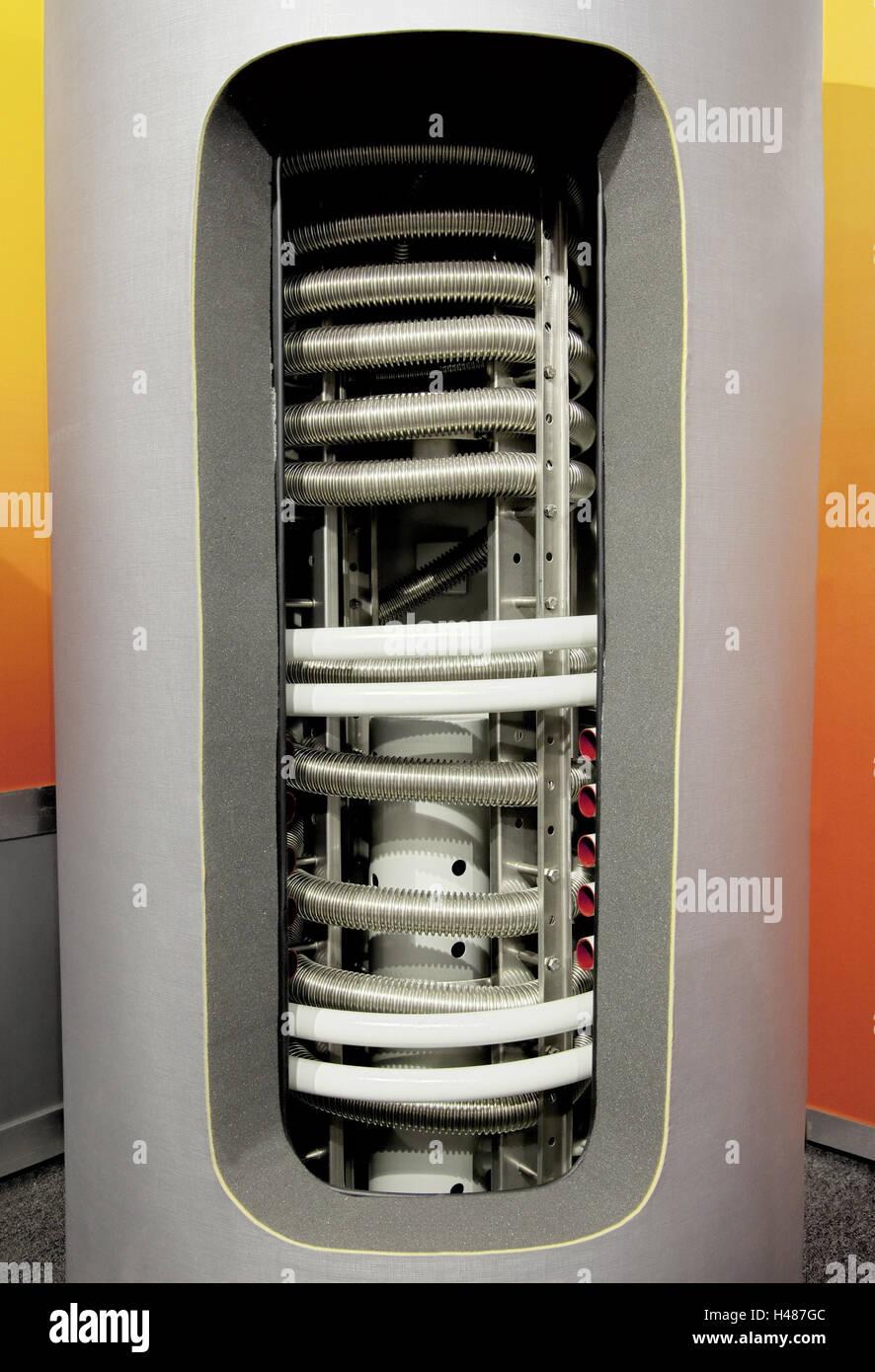 Heißes Wasser Akkumulator, offen, aufschneiden, Speicher, Wassertank ...