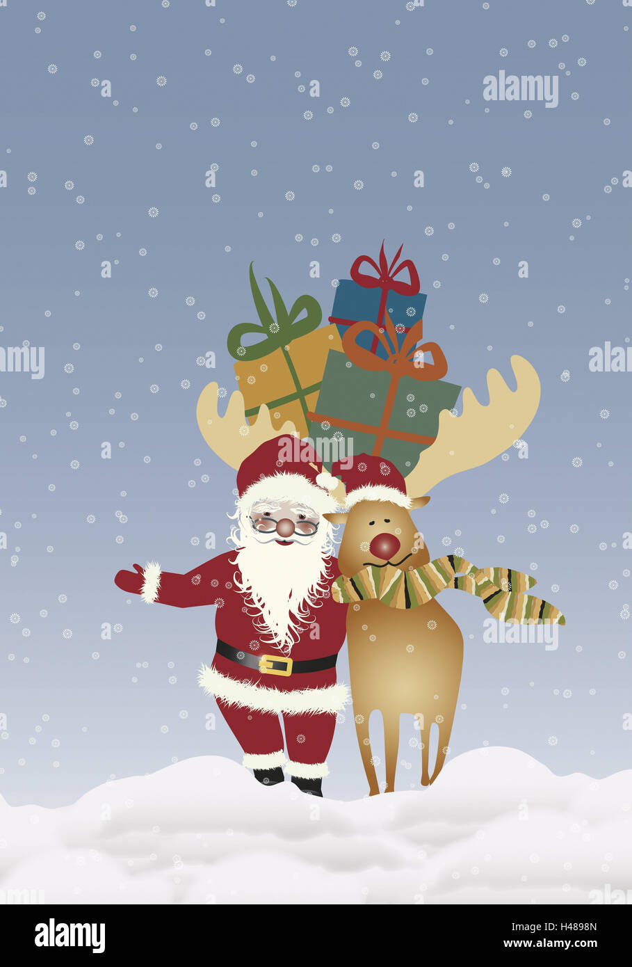 Illustration, Weihnachtsmann, Rentier, Umarmung, Weihnachtsgeschenke ...