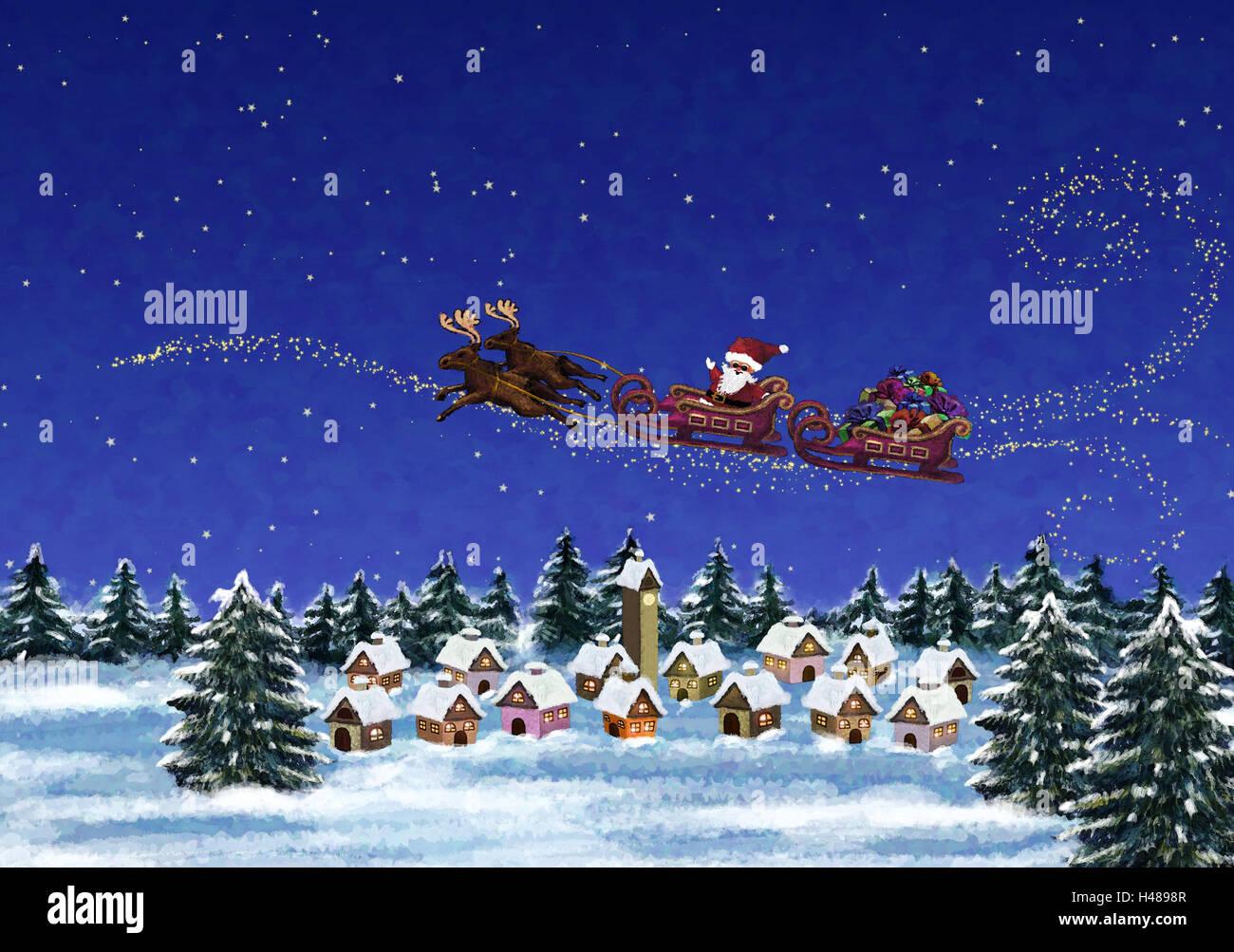 Illustration, Dorf, Weihnachtsmann, Rentier-Schlitten, fliegen ...