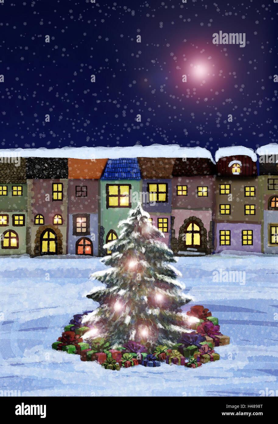 Illustration, Häuser, Weihnachtsbaum, Weihnachtsgeschenke, schneit ...