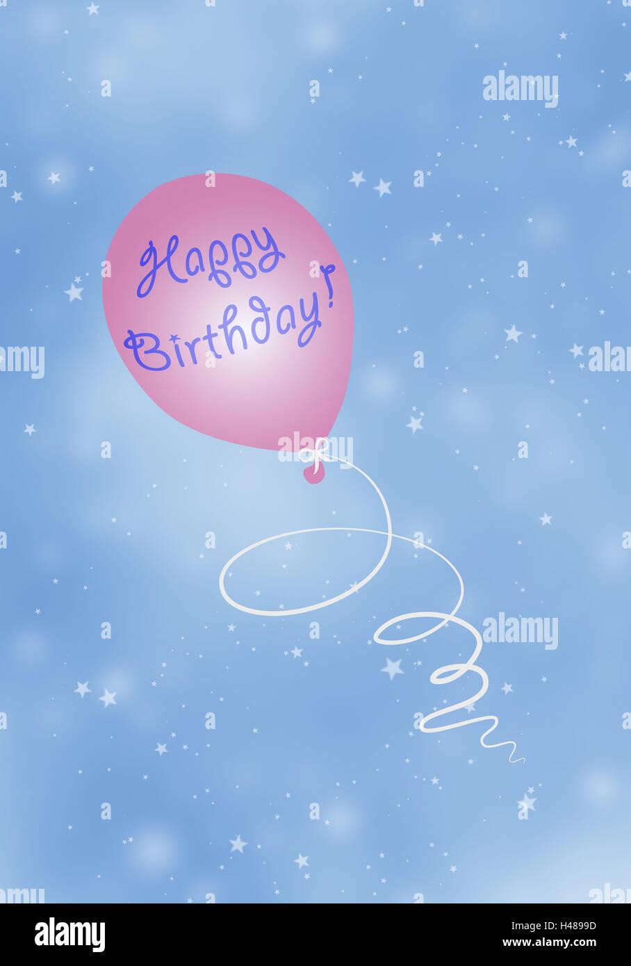 Abbildung Sky Ballon Fliegen Schweben Happy Birthday Grafiken