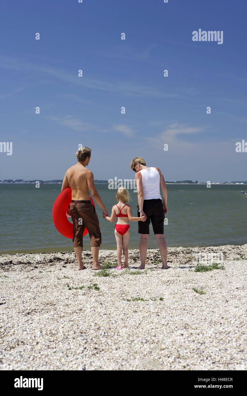 Deutschland, Butjenter, Nordsee, Eltern, Tochter, Strand