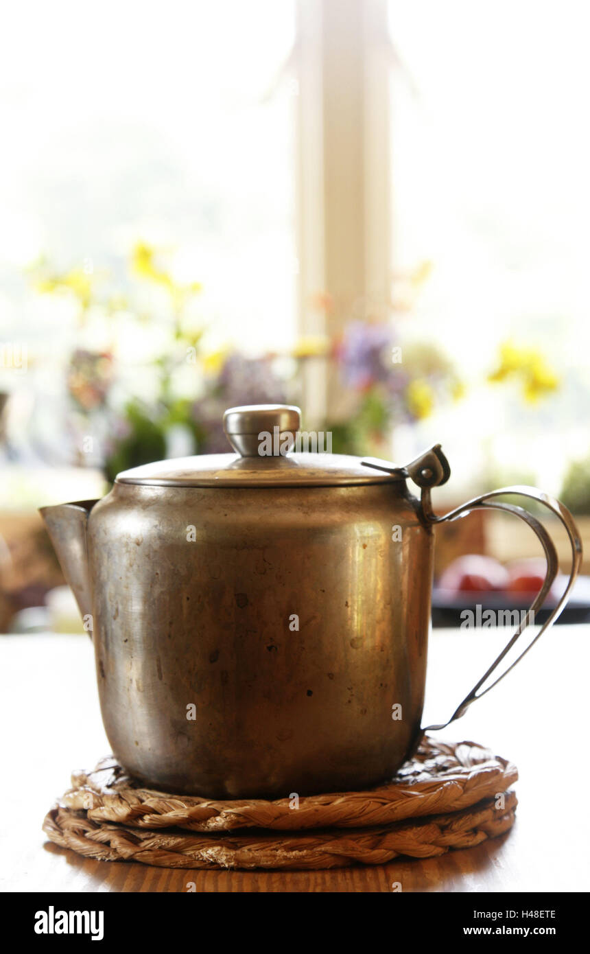 Tisch, Achterbahn, Teekanne, alte, Küchengeschirr, Kessel, Kessel ...