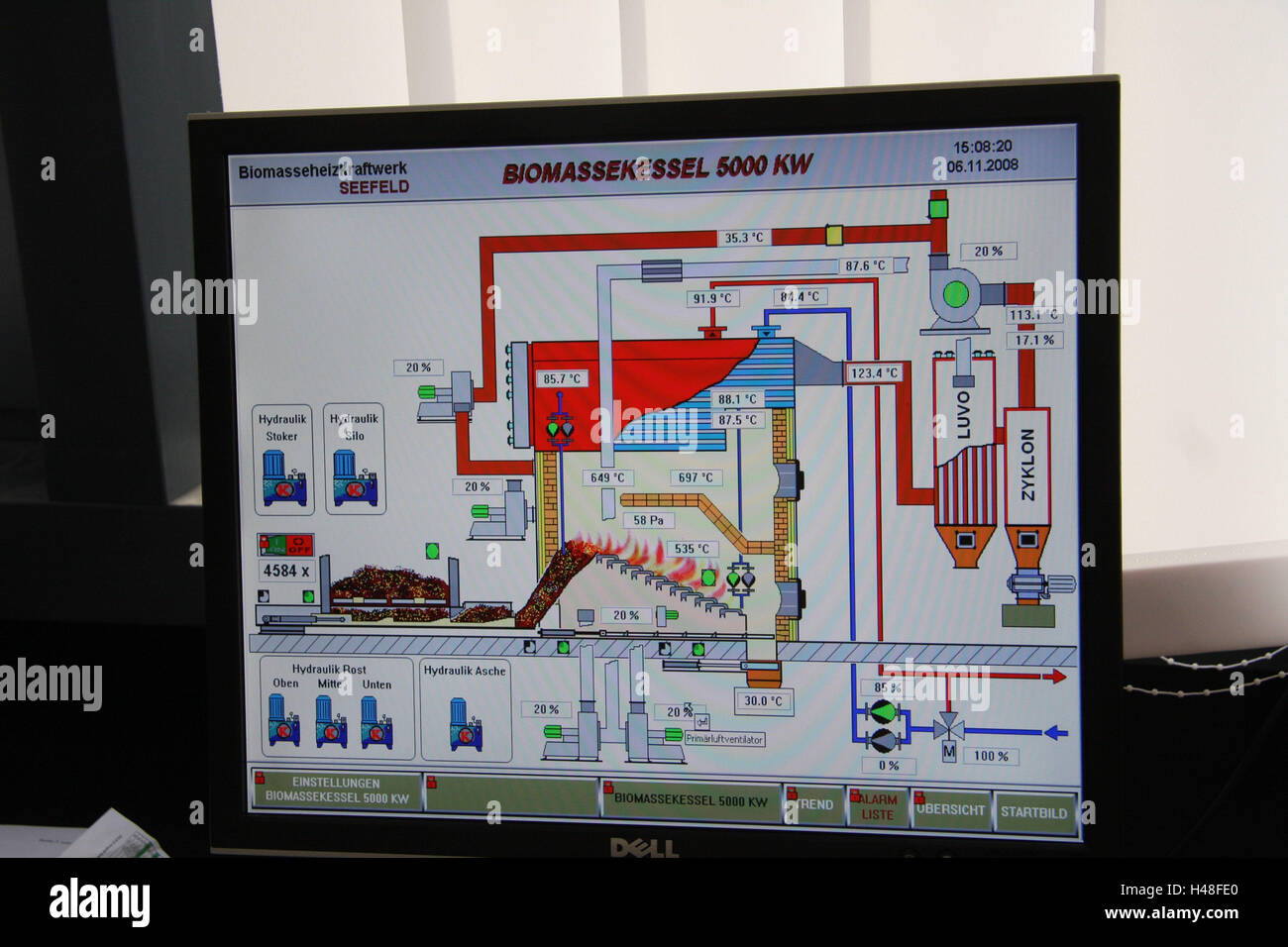 Anzeige, Darstellung, schematisch, Biomasse-Kessel, mittlere ...