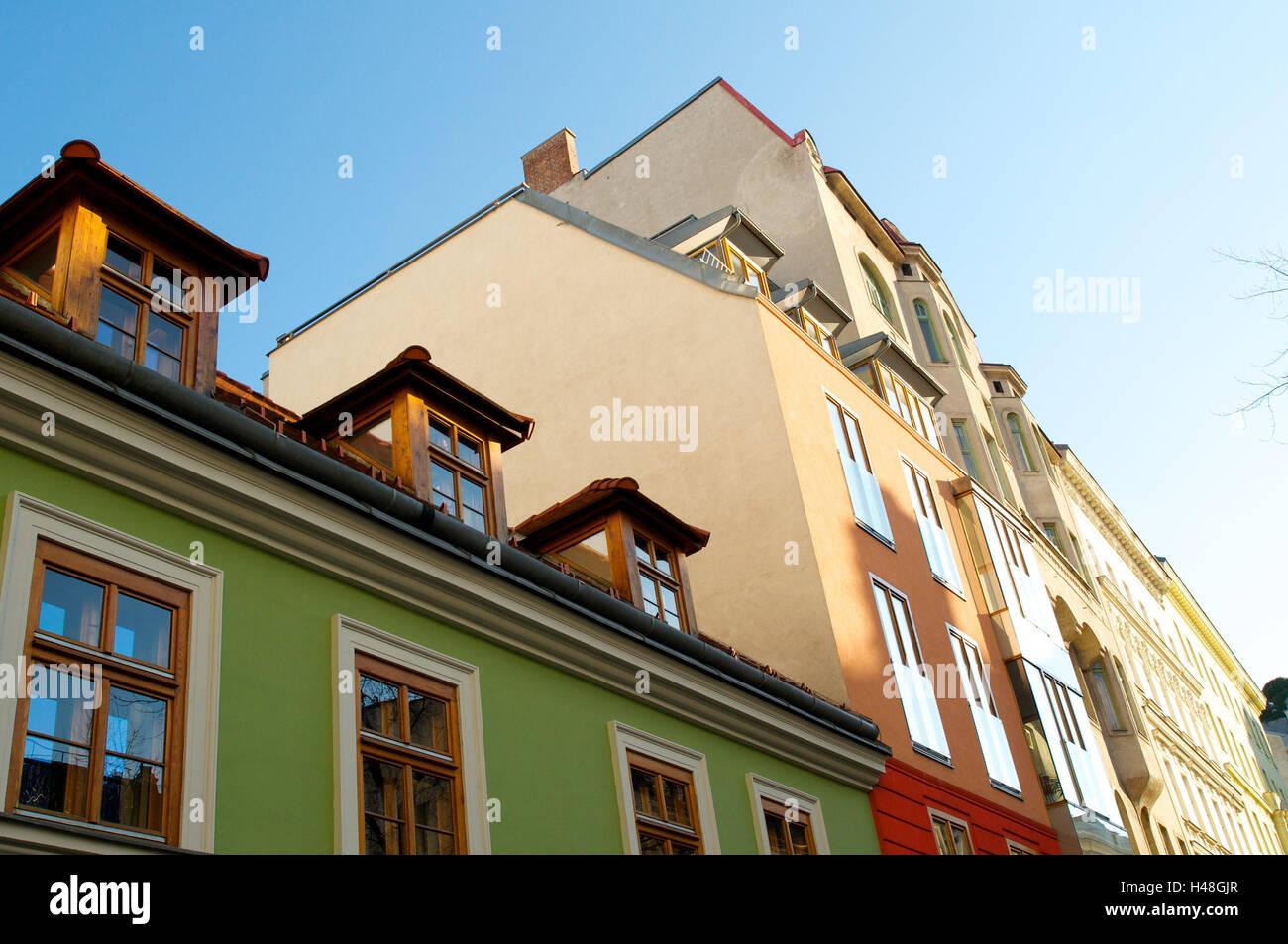 Hausfassaden, Sonne, Himmel, blau, Häuser, Gebäude, Haus Line, Berg ...