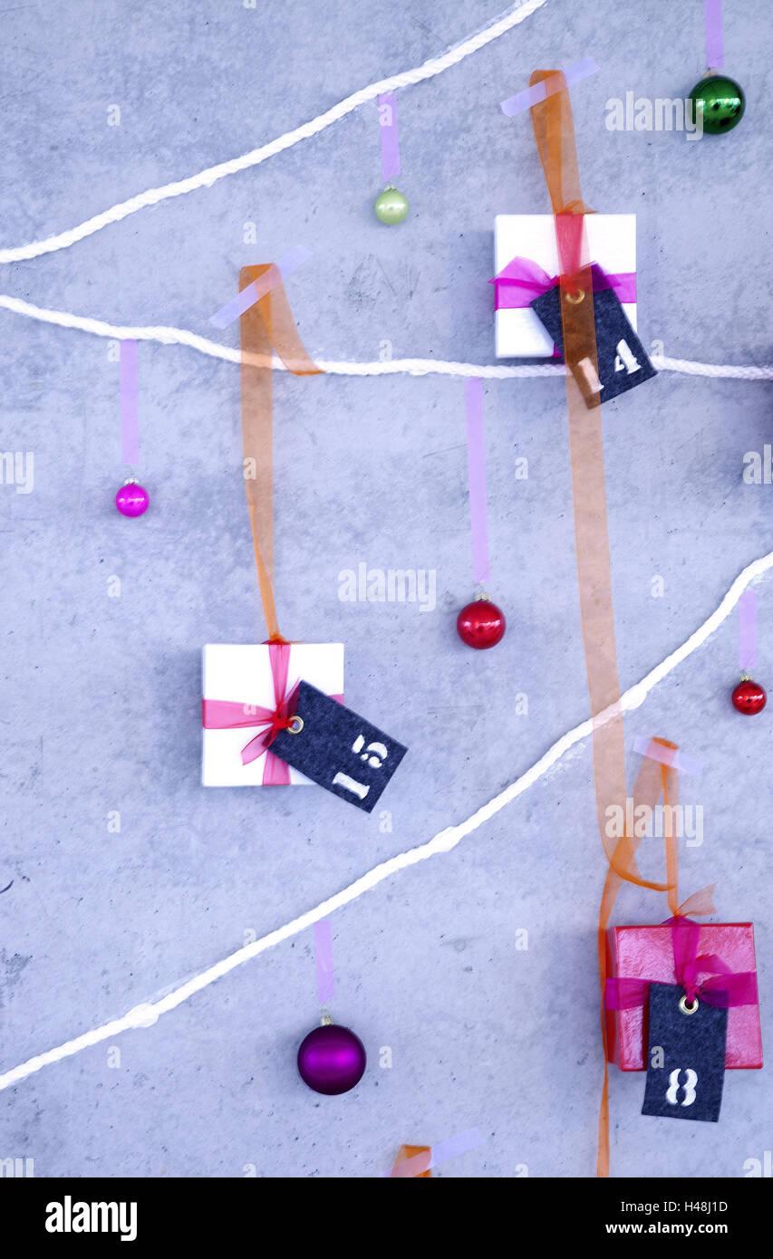 Adventskalender, Pakete, zahlen, Weihnachten, Advent, Überraschung ...