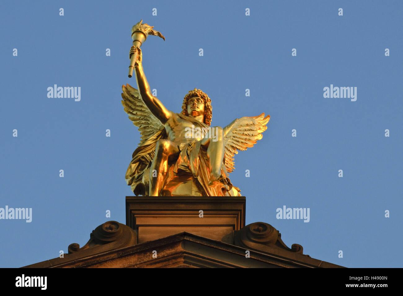Detailansicht der Akademie der Künste, Goldener Engel, Dresden, Sachsen, Deutschland Stockbild