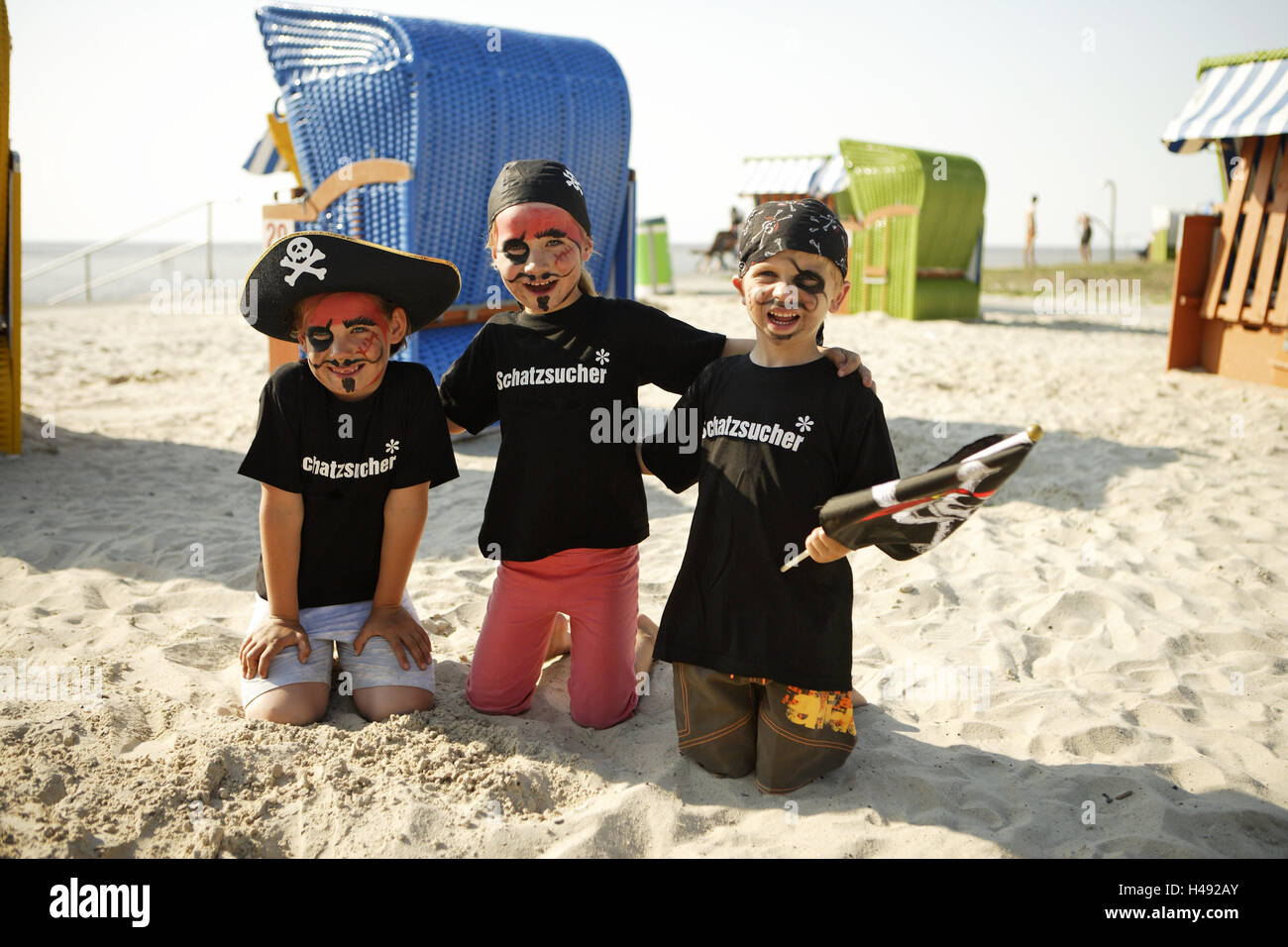 Deutschland Butjenter Nordsee Kinder Strand Drei Futter Pirat