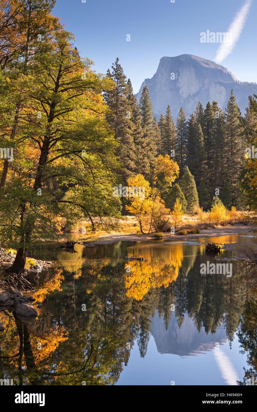 Half Dome und Merced River umgeben von Herbstlaub, Yosemite-Nationalpark, Kalifornien, USA. Herbst (Oktober) 2013. Stockbild