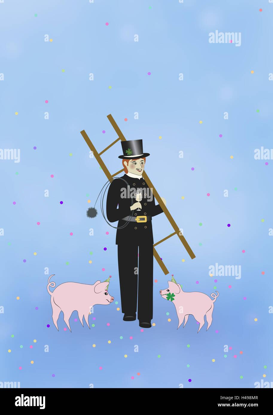Schornsteinfeger, Glücksschwein, Konfetti, symbol, Neujahr, Glücksbringer, Illustration, Stockbild