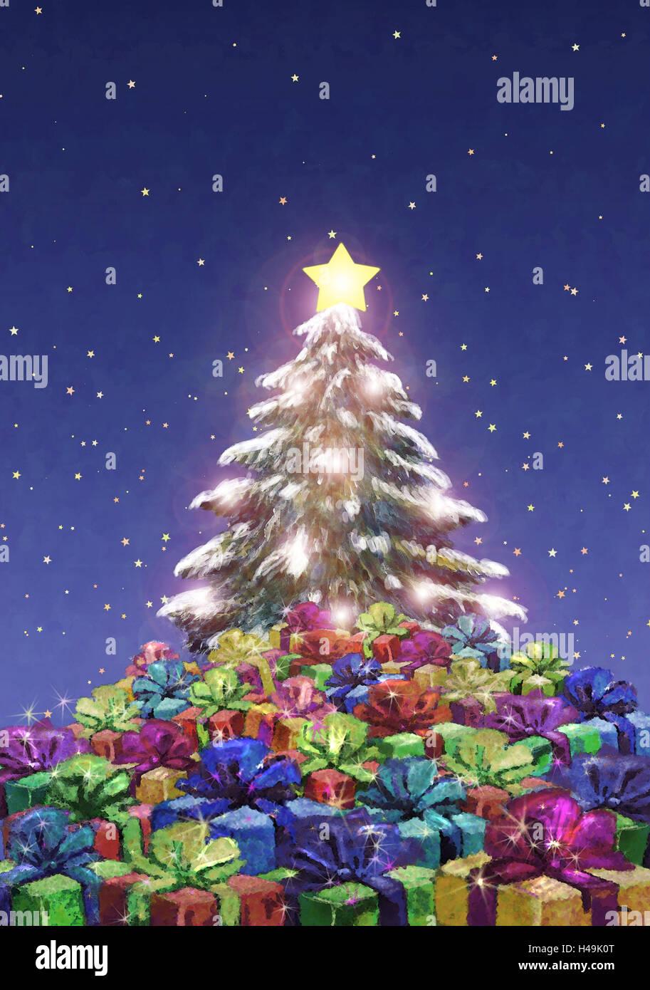 Winterliche Weihnachtsgrüße.Abbildung Weihnachtsbaum Geschenke Abend Abonnement Malen