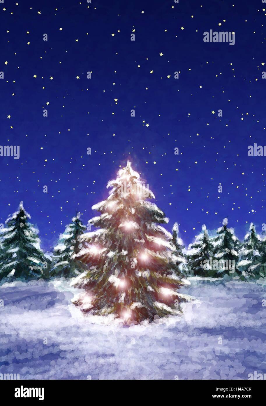 Abbildung, Weihnachtsbaum, Abend, Zeichnung, Malerei, Weihnachten ...