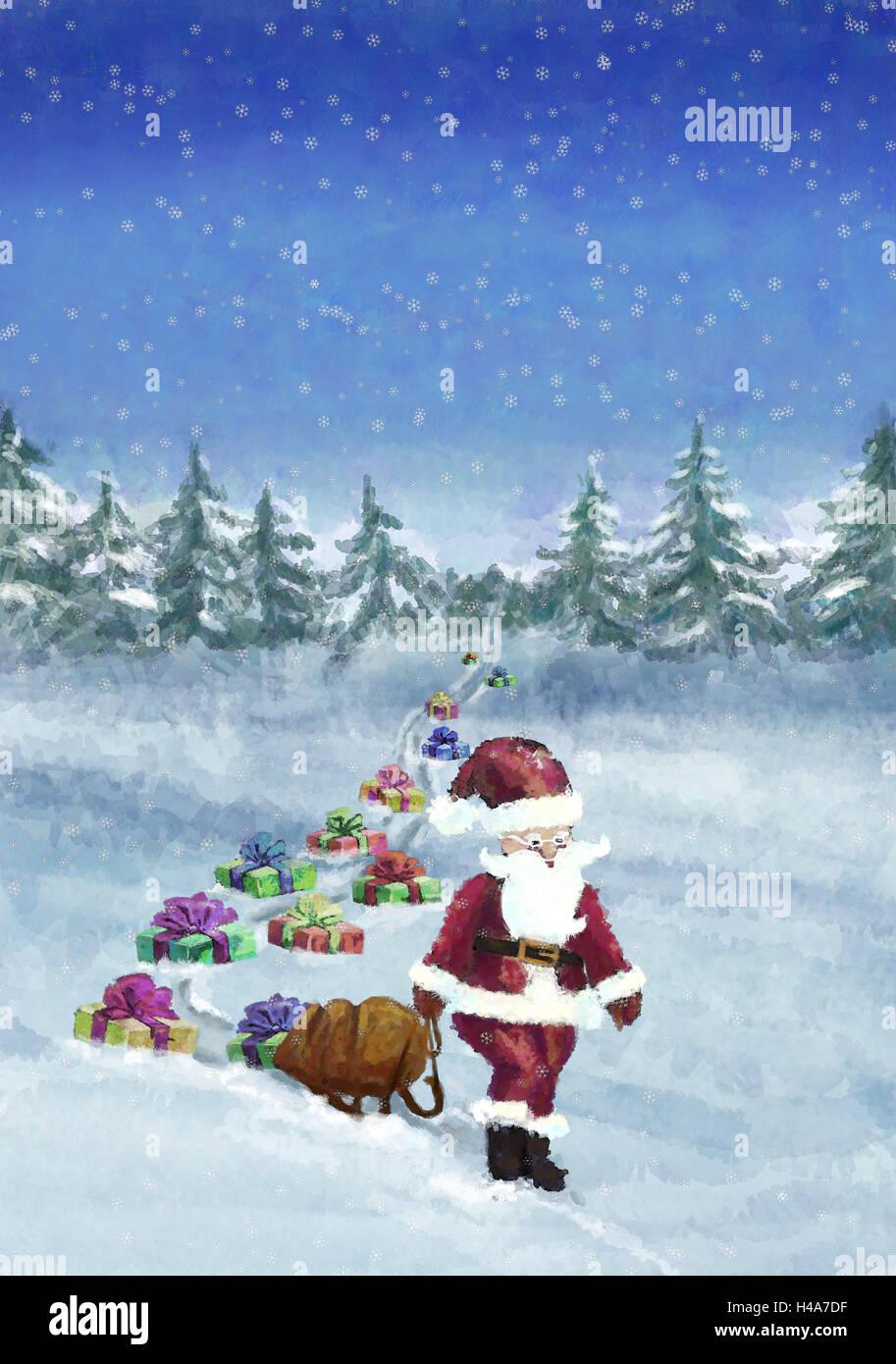 Abbildung, Holz, Santa Claus, schieben, ziehen, präsentiert ...
