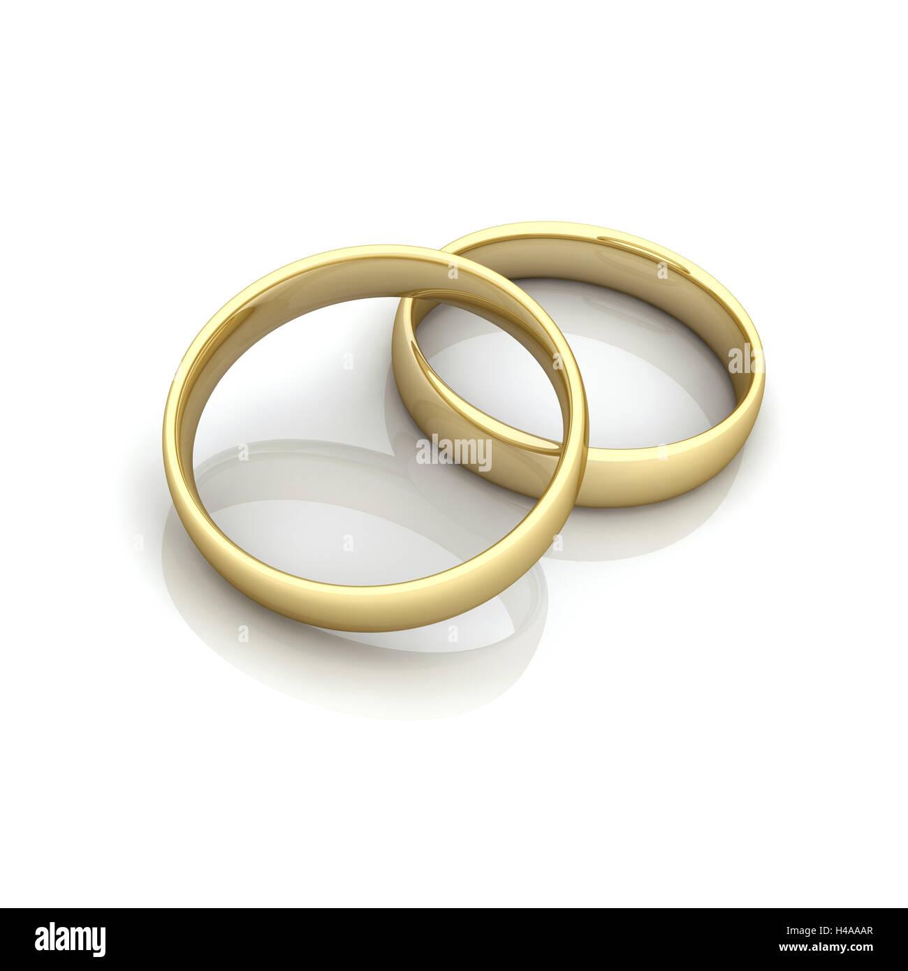Zwei Goldene Ringe Zusammen Symbol Heirat Hochzeit Stockfoto