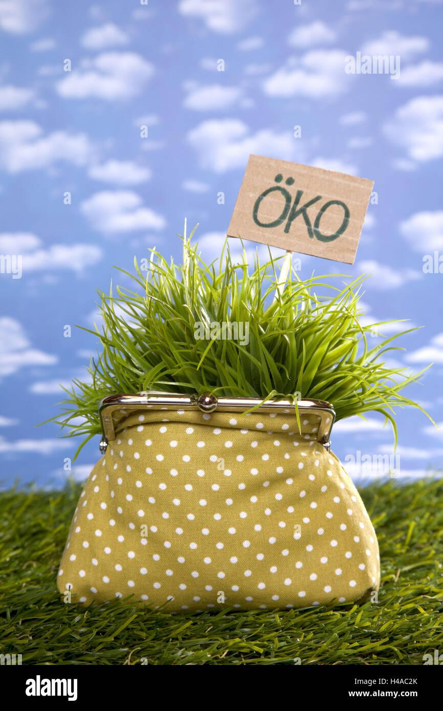 Symbolisches Bild, sparen, Geld, Geldbeutel, umweltfreundlich, ökologisch, Stockbild