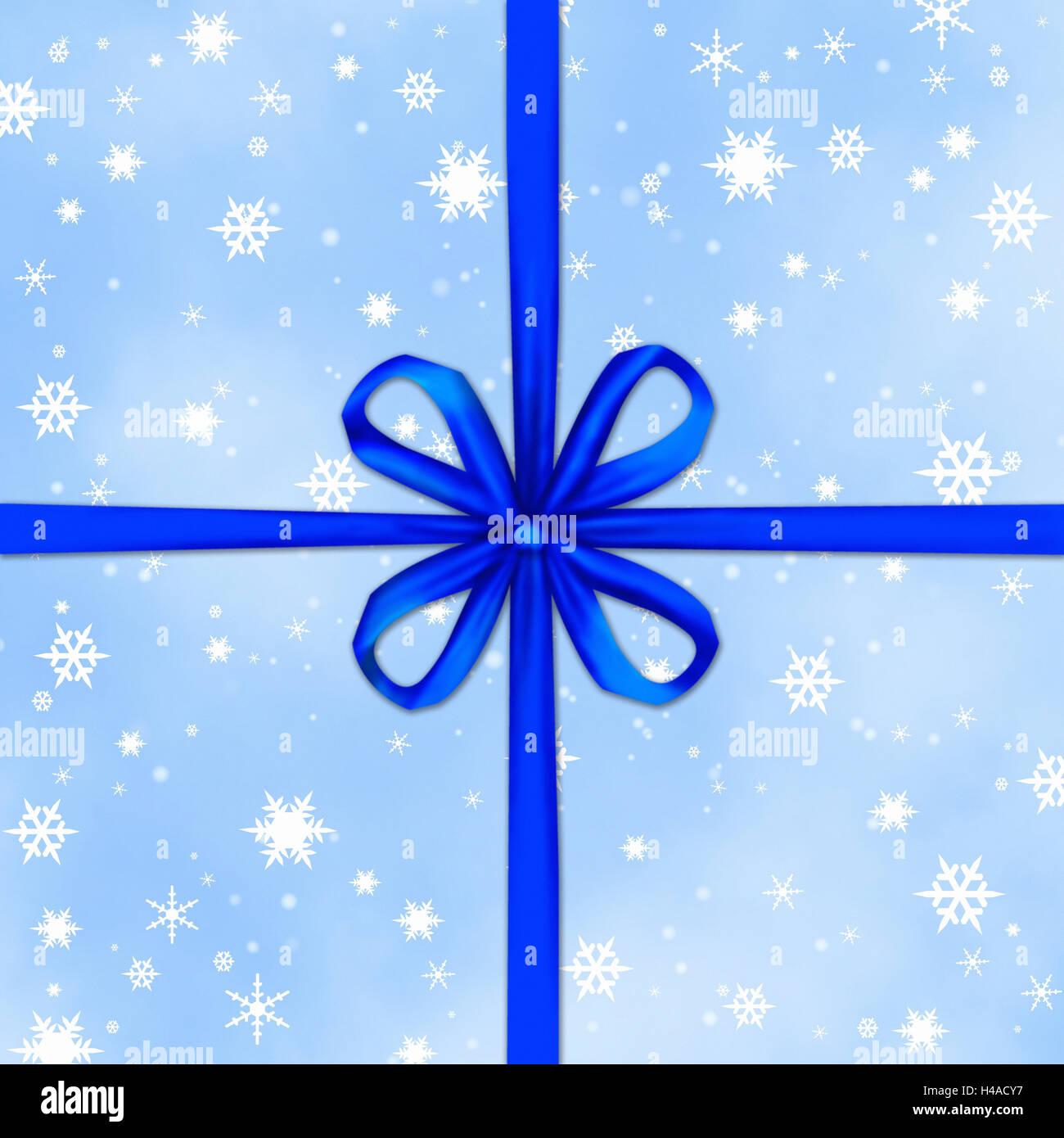 abbildung pr sent licht blau schleife schneeflocken. Black Bedroom Furniture Sets. Home Design Ideas
