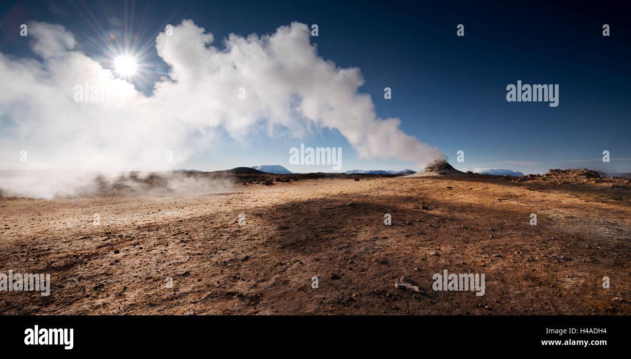 Island, Hverarönd, Krafla, Námafjall, Mývatn, Vulkan, Hochtemperaturbereich, Solfataren, Stockbild