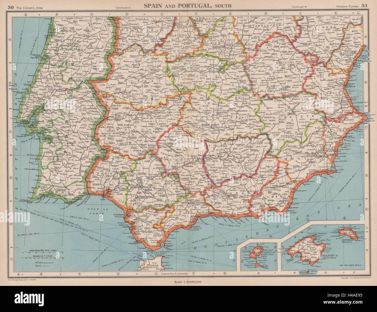 Karte Andalusien Portugal.Vintage Karte Von Andalusien Stockfotos Vintage Karte Von