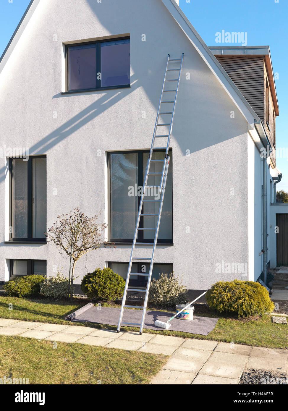Haus, Fassade, gleiten, hohen, Leiter,Stockfoto