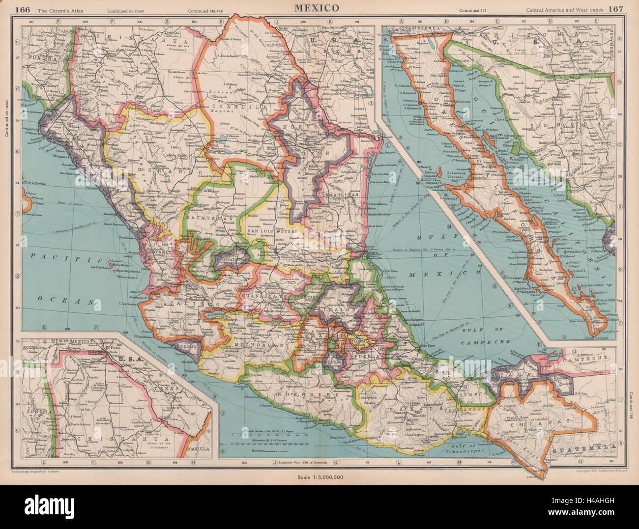 Mexiko Staaten Karte.Mexiko Staaten Zeigen Bartholomaus 1944 Alte Vintage Karte