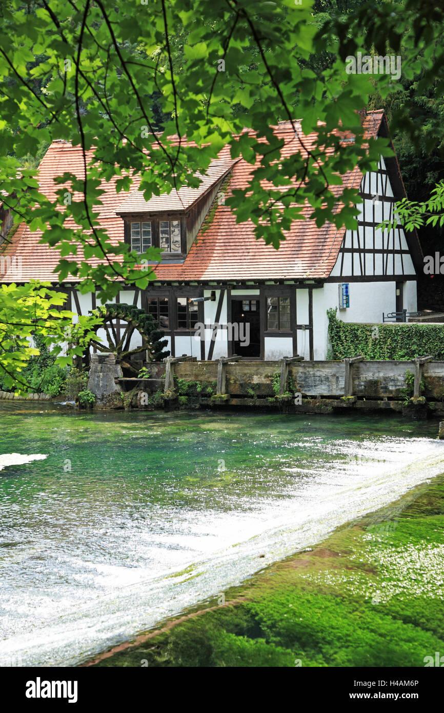 Deutschland, Baden-Württemberg, schwäbischen Alb, Blaubeuren, Blautopf, Wassermühle, Hammerwerk, Stockbild