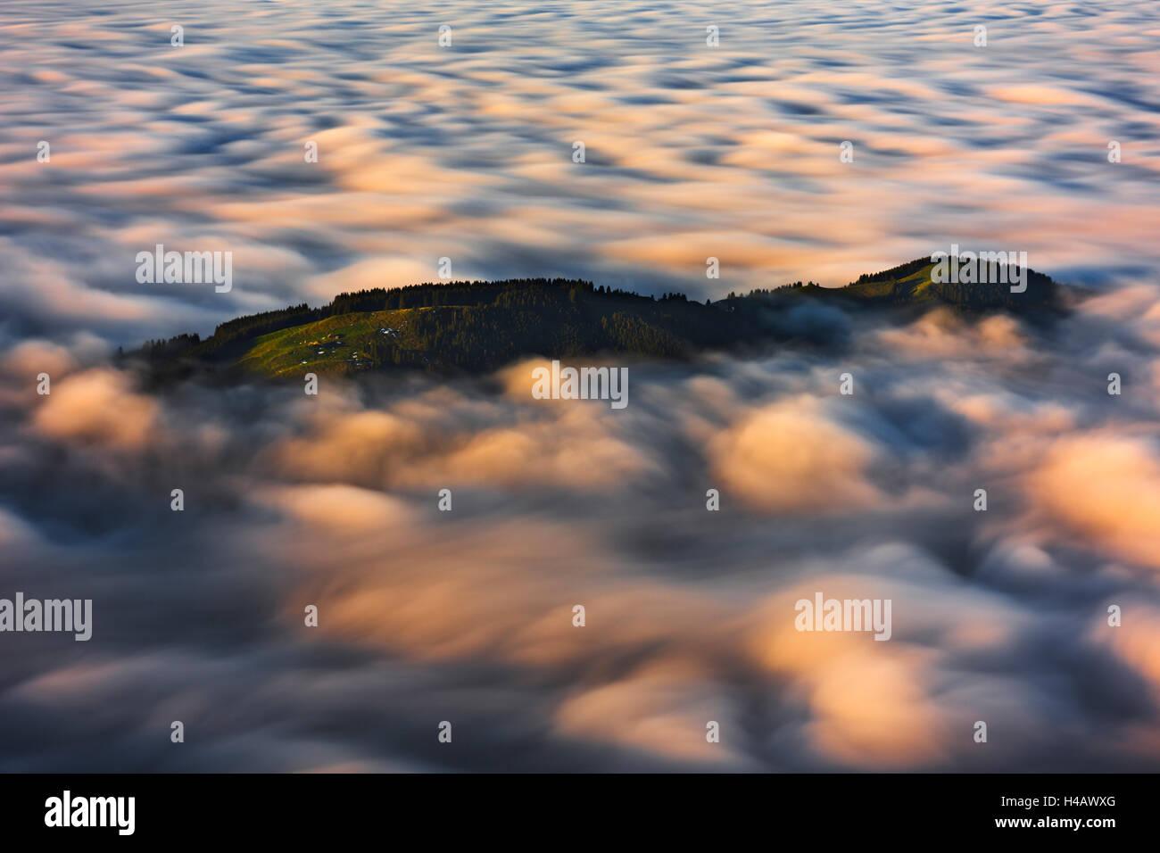 Alpen, Schweiz, Appenzell, Wolken, Nebel, hoch, Insel, Licht, Farbe, Herbst, Ansicht, Meer, Bewegung, Langzeitbelichtung, Stockbild