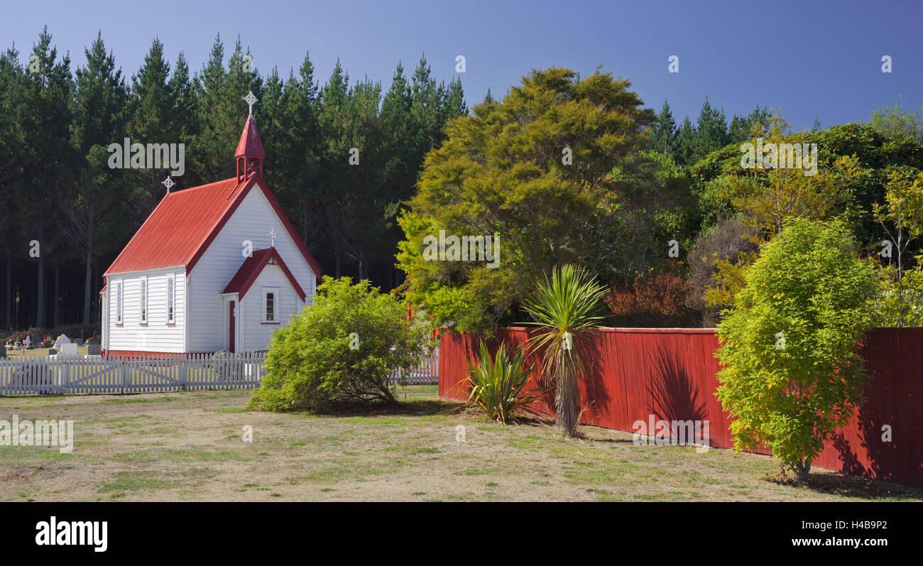 Kapelle auf dem State Highway Nr. 1, Lake Taupo, Waikato, Nordinsel, Neuseeland Stockbild