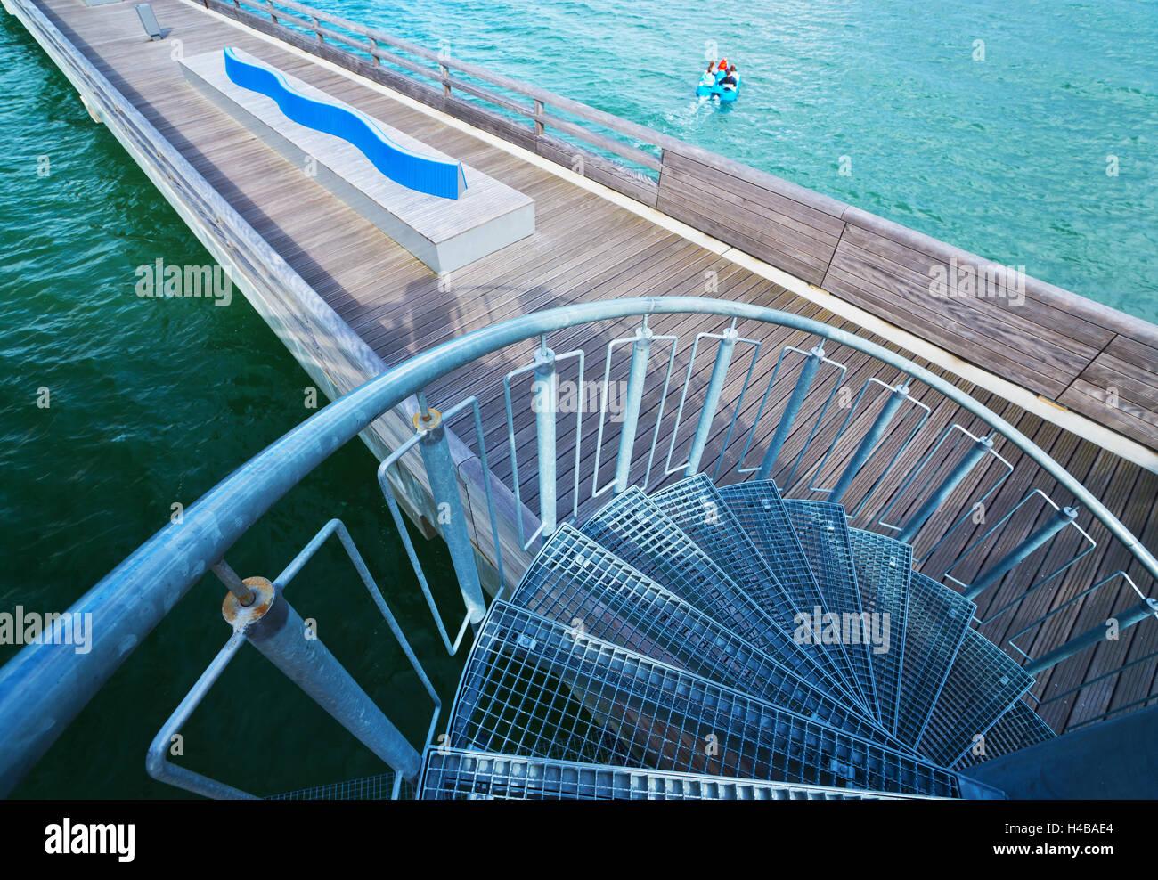 Detailansicht des Piers in Heiligenhafen, Ostsee Stockbild