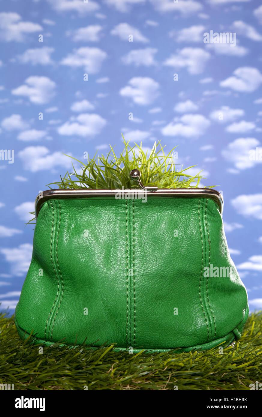 Symbol-Bild, sparen, Geld, Geldbeutel, umweltfreundlich, Stockbild