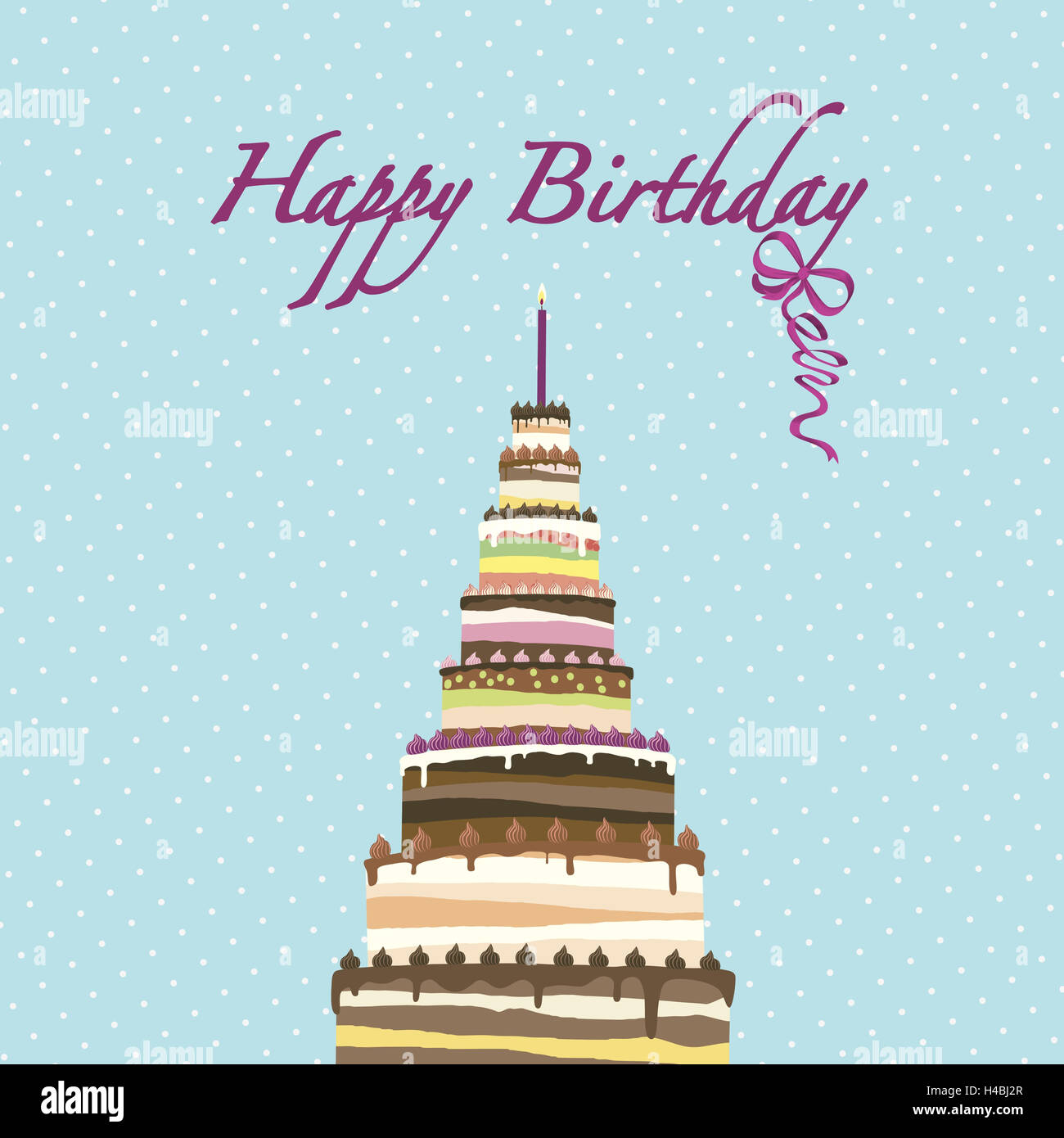 Illustration Kuchen Kerze Happy Birthday Grafiken