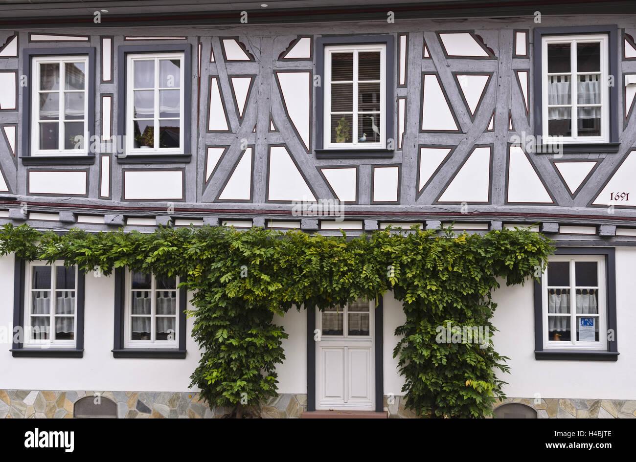 deutschland hessen taunus fachwerk der stvzo idstein altstadt fachwerk fassade stockfoto. Black Bedroom Furniture Sets. Home Design Ideas